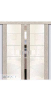Двойная раздвижная дверь Vetro V4 cappuccino veralinga/white pearl
