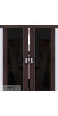Двойная раздвижная дверь Vetro V4 wenge veralinga/black star