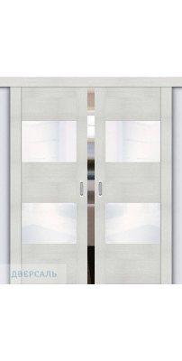 Двойная раздвижная дверь Vetro VG2 bianco veralinga/white waltz