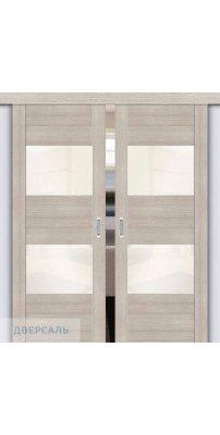 Двойная раздвижная дверь Vetro VG2 cappuccino veralinga/white pearl