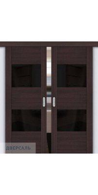 Двойная раздвижная дверь Vetro VG2 wenge veralinga/black star