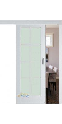 Раздвижная дверь 101X пекан белый, стекло матовое