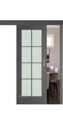 Раздвижная дверь 101X пекан темный, стекло матовое
