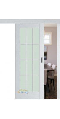 Раздвижная дверь 102X пекан белый, стекло матовое
