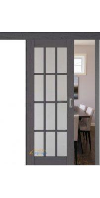 Раздвижная дверь 102X пекан темный, стекло матовое