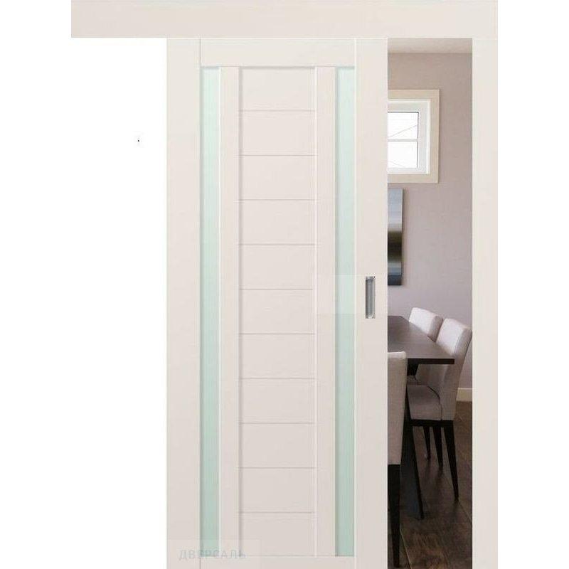 Раздвижная дверь 15U магнолия сатинат, стекло матовое