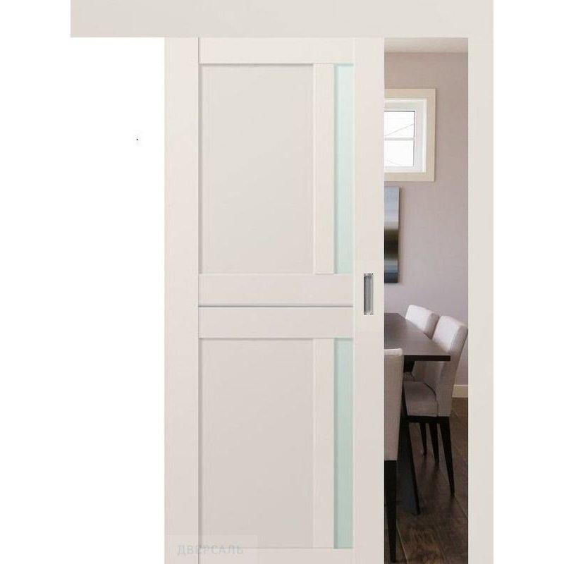 Раздвижная дверь 19U AL магнолия сатинат, стекло матовое