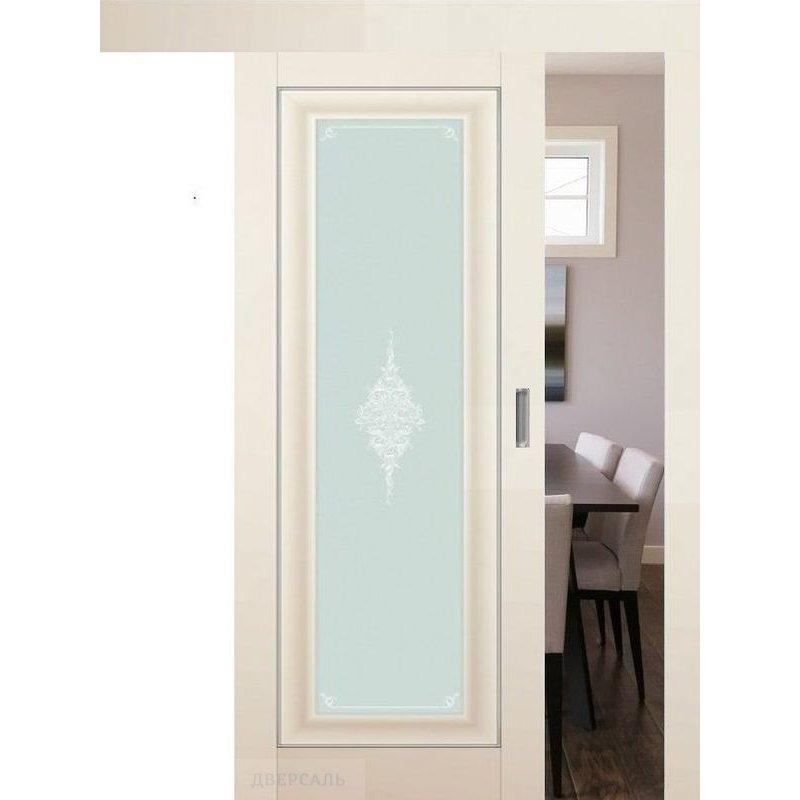 Раздвижная дверь 24U магнолия сатинат, стекло кристалл