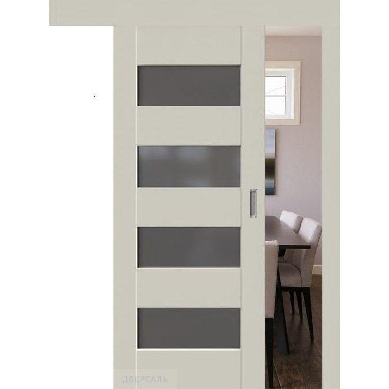 Раздвижная дверь 46U магнолия сатинат, стекло графит