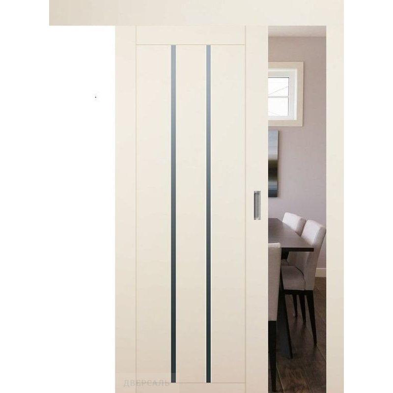 Раздвижная дверь 49U магнолия сатинат, стекло графит