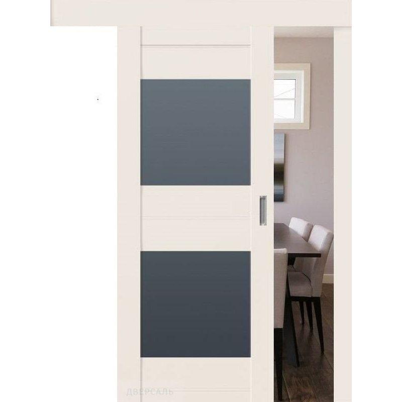 Раздвижная дверь 61U AL магнолия сатинат, стекло графит