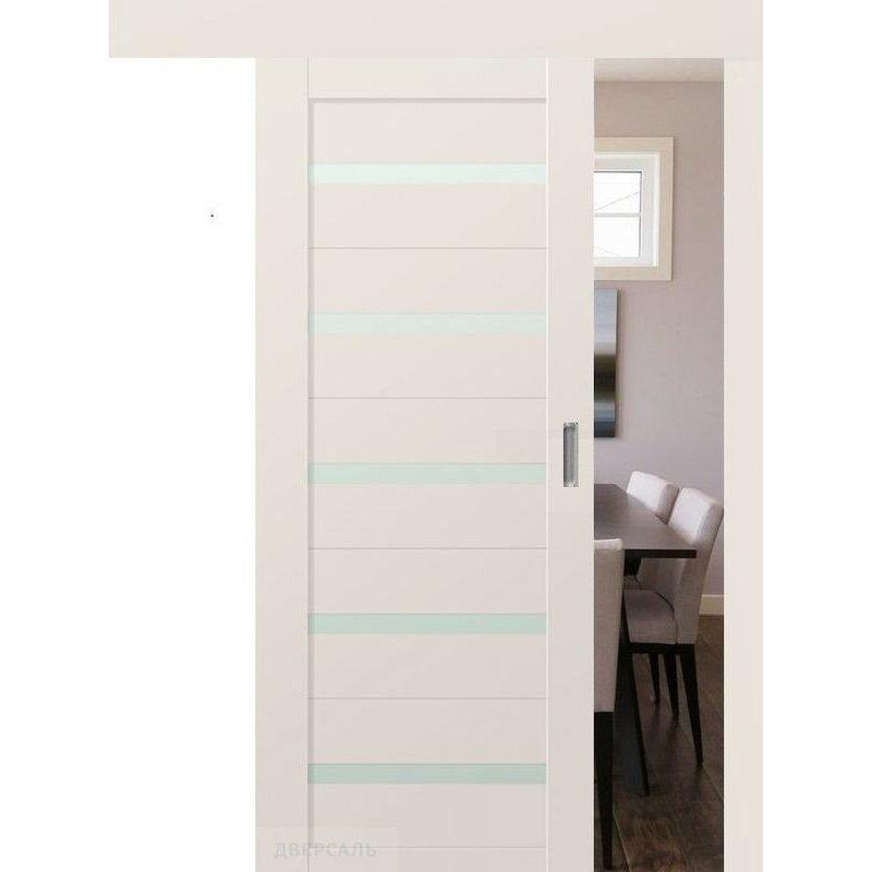 Раздвижная дверь 7U магнолия сатинат, стекло матовое