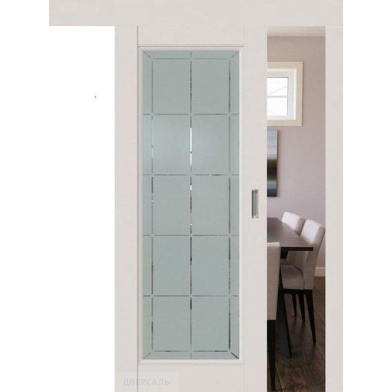 Раздвижная дверь 92U дарк вайт, стекло гравировка 10