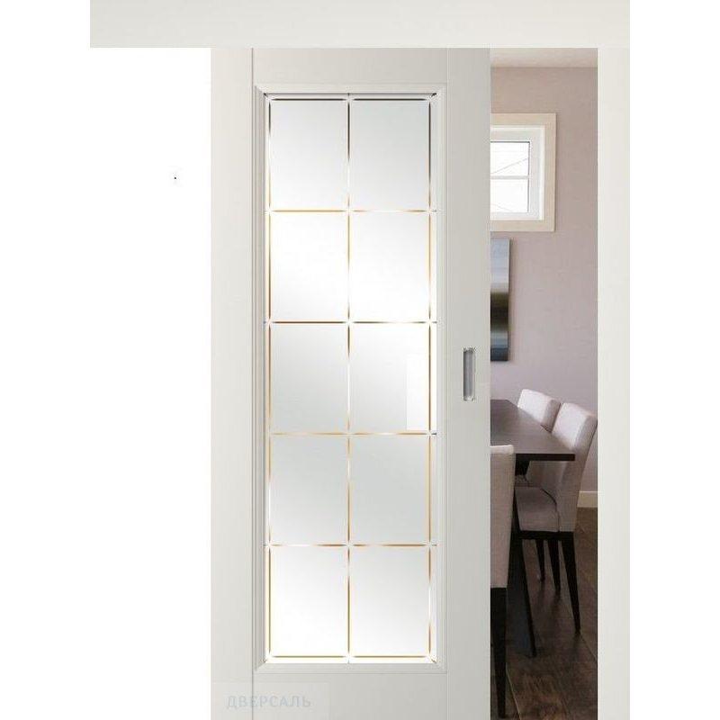 Раздвижная дверь 92U магнолия сатинат, стекло гравировка 10
