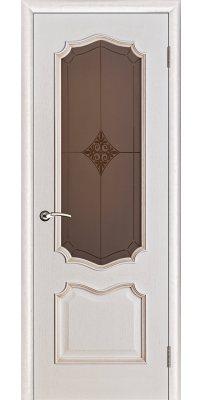 Межкомнатная дверь ПРЕМЬЕРА белая патина ПО стекло бронза ромб