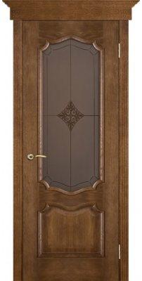 Межкомнатная дверь ПРЕМЬЕРА каштан ПО стекло броза ромб