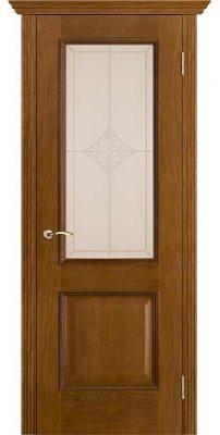 Межкомнатная дверь ШЕРВУД античный дуб (тон 14) ПО стекло бронза ромб