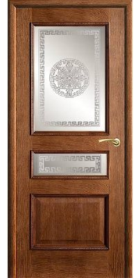 Межкомнатная дверь ВЕНА античный дуб (тон 14) ПО стекло версачи