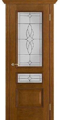 Межкомнатная дверь ВЕНА античный дуб (тон 14) ПО стекло витраж