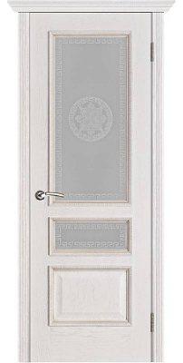 Межкомнатная дверь ВЕНА белая патина (тон 17) ПО стекло версачи