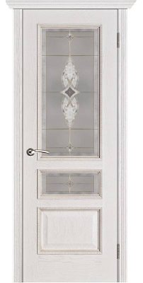 Межкомнатная дверь ВЕНА белая патина (тон 17) ПО стекло витраж