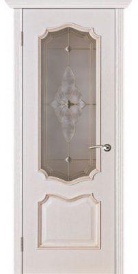 Межкомнатная дверь ПРЕМЬЕРА белая патина ПО стекло витраж