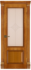 Межкомнатная дверь ГРАНД-1 patina antico, стекло ромб бронза