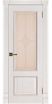 Межкомнатная дверь ГРАНД-1 patina bianko, стекло ромб бронза