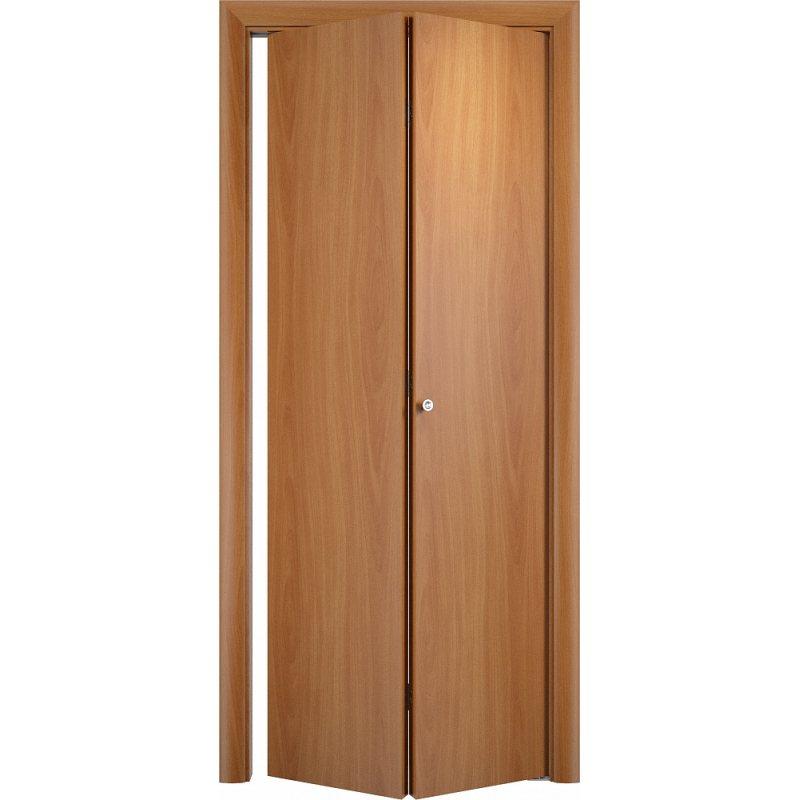 Межкомнатная складная дверь Гладкая ДПГ миланский орех