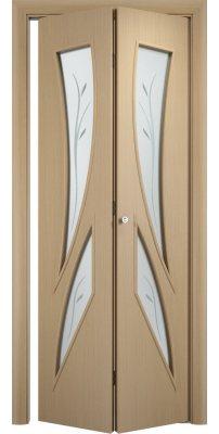 Складная дверь С-02 беленый дуб айс ПО