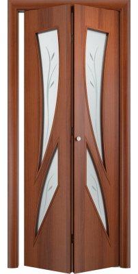Складная дверь С-02 итальянский орех ПО