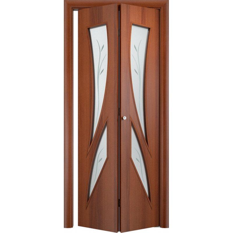 Межкомнатная складная дверь С-02 итальянский орех ПО