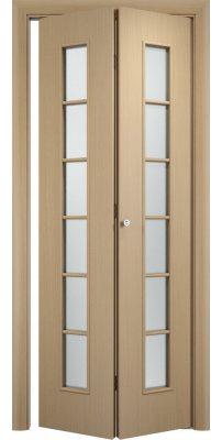 Складная дверь С-12 беленый дуб айс ПО