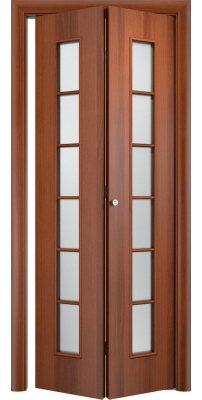 Складная дверь С-12 итальянский орех ПО