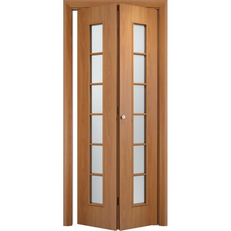 Межкомнатная складная дверь С-12 миланский орех ПО