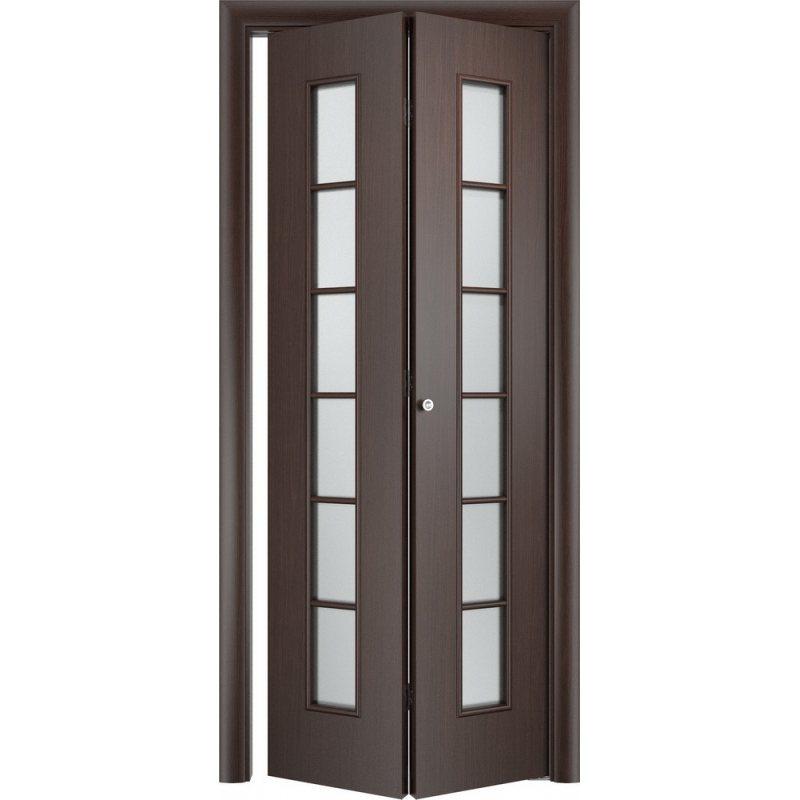 Межкомнатная складная дверь С-12 венге ПО