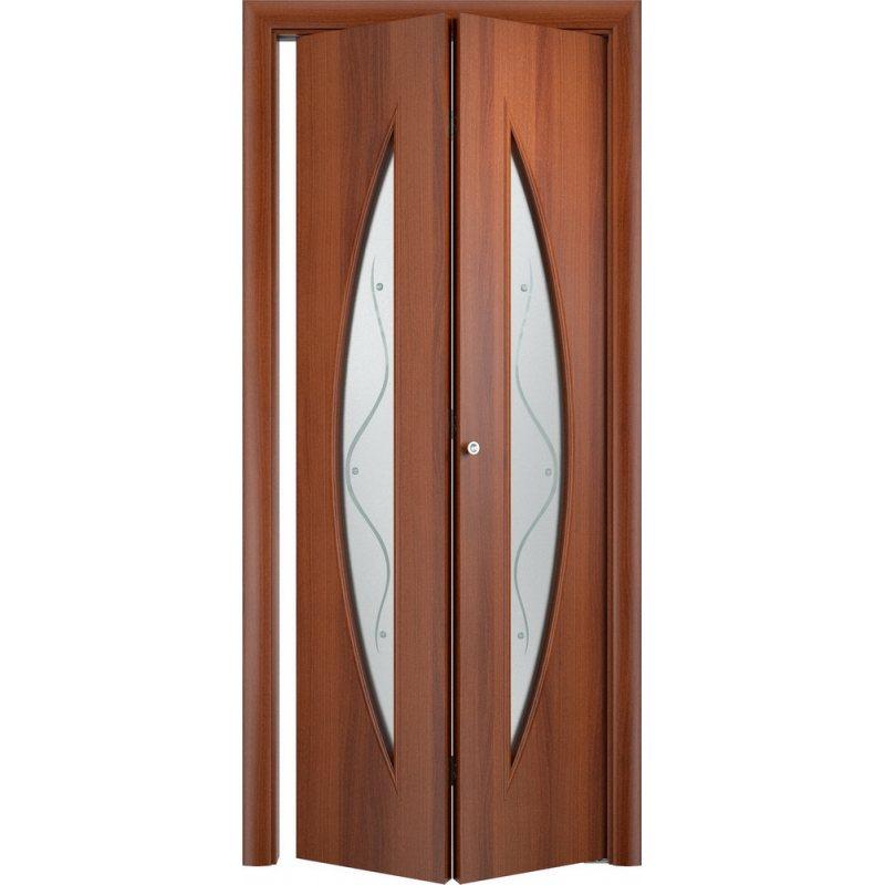 Межкомнатная складная дверь С-06 итальянский орех ПО