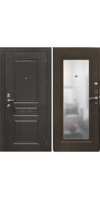 Входная дверь SD PROF-10 ТРОЯ-ЗЕРКАЛО темный орех