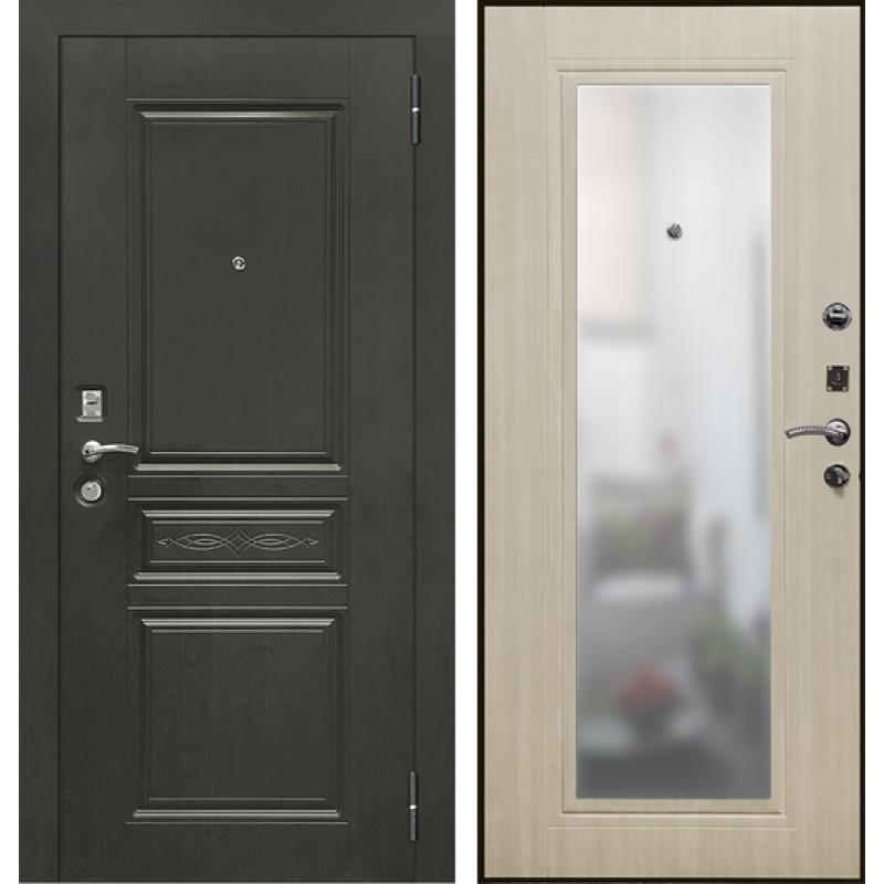 Входная дверь SD PROF-10 ТРОЯ-ЗЕРКАЛО светлый дуб